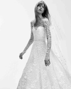 43 Romantic Floral Wedding Dresses | Martha Stewart Weddings - We love the small sprinkling of the 3-D floral embroidery on this gown's bodice and illusion sleeves.