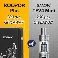 Here we go again another ECF exclusive competition! SMOK are back and have donated 150 Koopor Plus mods and 150 TFV4 Minis (as well as another 50 of each directly on E-Cigarette-Forum.Com). Both of these are great new products and sure to keep you happy vaping during the festive season!
