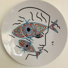 Jean Cocteau porcelain plate by PersimmonFrost on Etsy, $250.00
