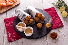 Polpettine al salmone e patate con maionese veloce alla paprika