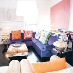 Kelly Bensimmon's house. Notice the Hermes scarves-turned-pillows? WANT.