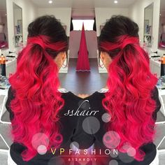 Bright red hair color for dark hair girls~