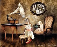Little girl in mother's shoes with gramophone