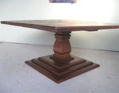 """Large 62"""" Square Dining Table with Pedestal Base  Can be made smaller"""