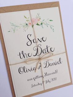 Rustic Floral Save the date Wedding by FromLeoniWithLove on Etsy
