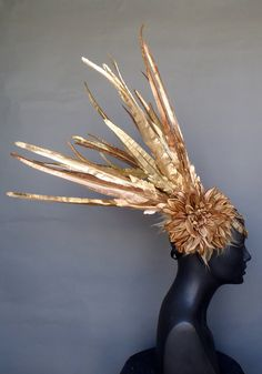 SOLD  Gold Faux Feather Headdress