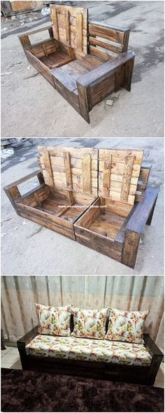 Creative DIY Pallet Recycling Ideas and Projects Wood pallet can be excellently used in terms of mak Pallet Bench Diy, Pallet Seating, Outdoor Seating, Crate Seating, Outdoor Pallet, Outdoor Spaces, House Furniture Design, Crate Furniture, Furniture Cleaning