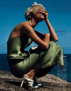 """The Mermaid's Holiday"" editorial, #voguejapan #green #fringe #sea #mermaid #fashion #editorial"