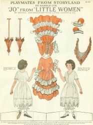 "Paper Doll comes from a 1922 issue of American Woman. The doll is ""Jo"" from Little Women by artist Harold Cue and has both front and back images for the doll and her clothing."