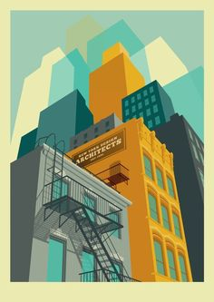 Colorful NYC Art Prints by Remko Heemskerk Like the treatment on the buildings. NYC Art Prints by Remko Heemskerk Like the treatment on the buildings.Like the treatment on the buildings. Gravure Illustration, Illustration Art Nouveau, Building Illustration, City Illustration, Graphic Design Illustration, Digital Illustration, Halloween Illustration, Vector Illustrations, Creative Illustration