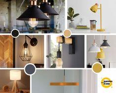 Planche inspiration pour appliques, suspensions, lampes à poser et lampadaires. Coloris : noir, gris, jaune et beige. Inspiration, Ceiling Lights, Lighting, Appliques, Design, Home Decor, Floor, Light Fixture, Gray Yellow