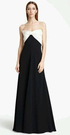 $1500 Valentino Black BOW Bodice Gown 6 Black White Seen ON Celebs | eBay