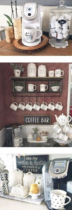Love these coffee nook ideas - super cute coffee bar set up ideas for my kitchen