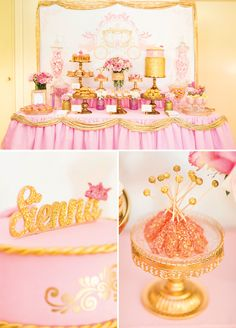 A Princess Birthday Party dessert table with crown topped cake pops, golden cannoli, pink roses, gold sequined cake, a royal carriage backdrop & more. 1st Birthday Princess, Princess Theme Party, Baby Girl Birthday, Rosa Desserts, Pink Desserts, Birthday Party Desserts, Girls Birthday Party Themes, Birthday Ideas, Birthday Crafts