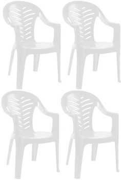 Resol Palma Garden Chair - White - Patio Outdoor Plastic Furniture (Pack of 4): Amazon.co.uk: Garden & Outdoors £44.99