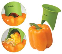 Bell Pepper Corer: Just insert the pointed tips of this tool into the pepper, twist and pull; it stems, seeds and cores in no time.