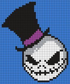 Jack In A Top Hat (The Nightmare Before Christmas) Square Perler Bead Pattern / Bead Sprite Pearler Bead Patterns, Kandi Patterns, Perler Patterns, Beading Patterns, Diy Perler Beads, Perler Bead Art, Cross Stitching, Cross Stitch Embroidery, Cross Stitch Designs