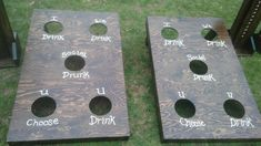 Cornhole drinking boards my wife and I built