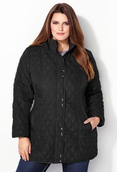 Long Pleather Trim Quilt Coat