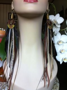 Long feather earrings  Earth Goddess  feather by PrettyVagrant, $49.50