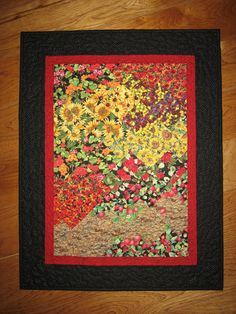Art Quilt, Strawberries, Poppies and Sunflowers Along the Path Fabric Wall Hanging