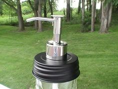 Metal Pump and Lid Mason Jar Lotion/Soap dispenser - Several Finish Choices (Minimalist High Gloss Polished)