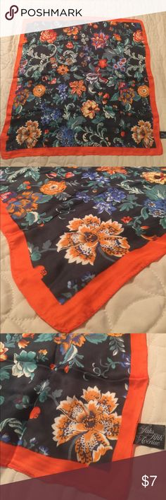 Women's SAKS FIFTH AVENUE Designer scarf. Women's SAKS FIFTH AVENUE Designer scarf. Orange color around the edges. Blues, yellows, greens, oranges, and reds throughout the floral design of this beautiful Designer scarf. 😻smoke free home. Saks Fifth Avenue Accessories Scarves & Wraps