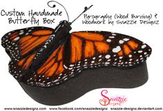 Handmade Butterfly Box With Pyrograhed (Wood burned butterfly). The wings of the butterfly are the lid of the box and the open like butterfly wings. Butterfly Wings, Pyrography, Wood Burning, Stained Glass, Tattoos, Box, Handmade, Tatuajes, Snare Drum
