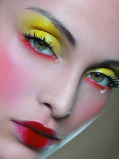 Yellow and red makeup