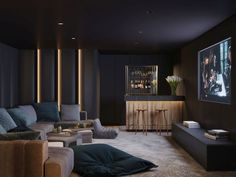 Get cosy and watch a film in Arula Chalets private cinema room! The post Arula Chalets appeared first on Trendy. Home Theater Room Design, Home Theater Rooms, Home Theater Seating, Home Interior Design, Theater Room Decor, Design Interiors, Cinema Room Small, Home Cinema Room, Small Movie Room