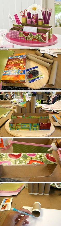 Recycled craft: DIY desk organizer. I would also put something on the inside so that that it doesn't look like cardboard.