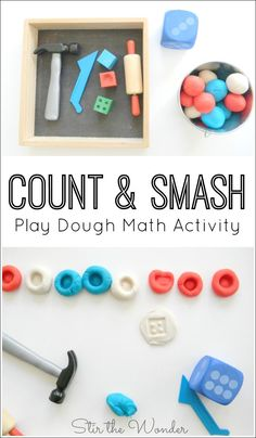 Tool Theme: Count and Smash Play Dough Math Activity is a fun, hands-on, sensory way for preschoolers to practice counting & fine motor skills! Playdough Activities, Counting Activities, Toddler Activities, Number Activities, Toddler Fun, Physical Activities, Toddler Counting, Dementia Activities, Math For Kids
