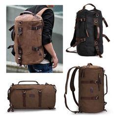9ce89284e Men's Vintage Canvas backpack Rucksack laptop shoulder travel Hiking  Camping bag