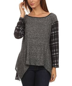 Look what I found on #zulily! Gray Plaid-Contrast Hi-Low Top - Plus #zulilyfinds