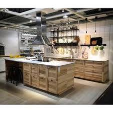 A large kitchen with sektion torhamn natural ash doors for Cuisine ikea torhamn