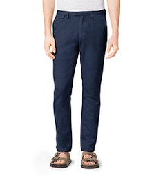 Slim-Fit Cotton and Linen Chinos