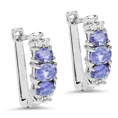 $119...Captivating 1.52ct Tanzanite & White Topaz .925 Sterling Silver Earrings