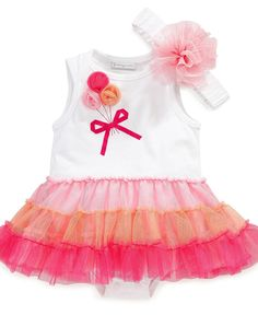 First Impressions Baby Set, Baby Girls Tulle Headband and Tutu Bodysuit - Kids Newborn Shop - Macy's