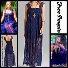 "❗️1-HOUR SALE❗️FREE PEOPLE LACE Slip MAXI DRESS RETAIL PRICE: $88  ***Model photos of aprils2ndcloset model Jessica & from WWW.Lyst.com NEW WITH TAGS   FREE PEOPLE Lace Slip Maxi Dress   * Beautiful semi-sheer stretch-to-fit lace   * Square neck & wide straps   * Pullover style  * A-line & relaxed fit  * Measures about 51"" long for size S   Fabric: Nylon & spandex blend  Color: Indigo Blue Item: 7165200  No Trades ✅ Offers Considered*✅ *Please use the blue 'offer' button to submit an offer…"