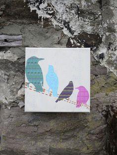 Shetland starling - line birds canvas