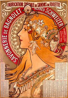 Nouveau Zodiac Soap Advertisement by Alphonse Mucha Fine Art Print