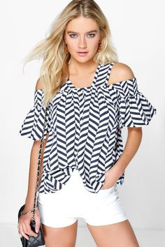 ac7b8afda03 Lydia Cold Shoulder Zig Zag Print Top. Cold Shoulder BlouseShoulder TopsGemma  ArtertonShirt JacketCasual ...
