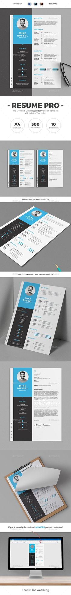 Buy Resume by design-park on GraphicRiver. Resume Pro Template with super clean and modern look. Resume Template page designs are easy to use and customize. College Resume Template, Best Resume Template, Stationery Templates, Stationery Design, Adobe Photoshop, Resume Words Skills, Resume Design Template, Cv Template, Design Templates