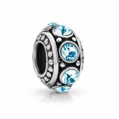 Chuvora Sterling Silver March Birthstone(Aquamarine: Beauty, Honesty, Loyalty, Happiness) Bead Charm Fits Pandora Bracelet