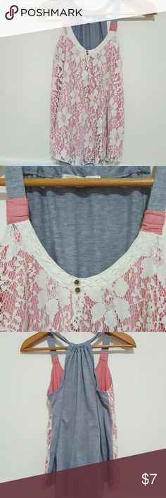 Cute pink and white lace top Pink and gray shirt with white lace overlay on the front all gray in the back. The back can be cinched close together or spread out for more coverage. Mudd Tops Tank Tops
