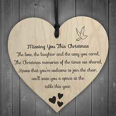 Red Ocean Missing You This Christmas Wooden Hanging Memorial Heart Plaque Xmas Tree Decoration Sign