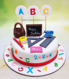 Teacher theme customized designer fondant cake for Mom's birthday at Pune. Everything is eggless and edible. For my other creations, please visit my website www. Teacher Birthday Cake, Teachers Day Cake, Teacher Cakes, Fondant Cake Designs, Fondant Cakes, Cupcake Cakes, 3d Cakes, Cake Decorating Techniques, Cake Decorating Tips