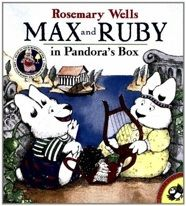 "Ruby tries to stop her younger brother Max from sneaking into her room and snooping by reading him an altered version of ""Pandora's Box.""   E WEL"