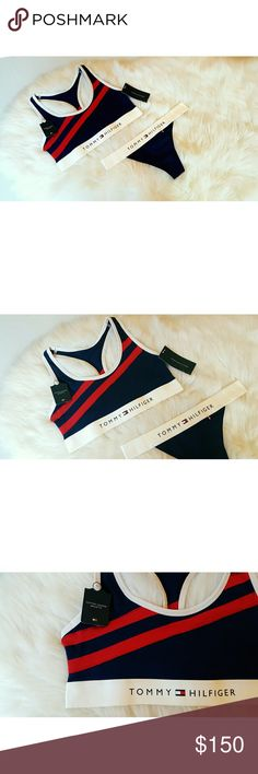 Tommy Hilfiger Lingerie/ Underwear Set Exclusive Women's size: small bra and small thong.  Navy Blue, red stripes, white detailing.  Brand new with tags, never been worn. Exclusive items, not in retail stores or online. Vintage design.  Super comfortable cotton and spandex material!  Condsidering only reasonable offers. No trades. Tommy Hilfiger Intimates & Sleepwear
