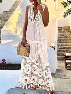 Maxi dress with sleeves - Women's Bohemian Deep V Lace Fringe Dress – Maxi dress with sleeves Women's Dresses, Cheap Maxi Dresses, Dresses Online, Casual Dresses, Summer Dresses, Long Boho Dresses, White Maxi Dress Casual, Bohemian Style Dresses, Gypsy Style